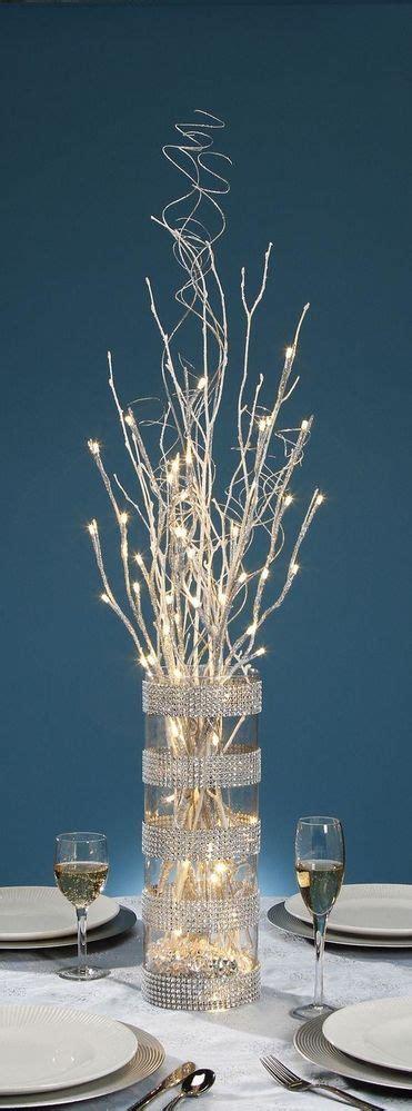 diy wedding crafts silver led glitter branch centerpiece