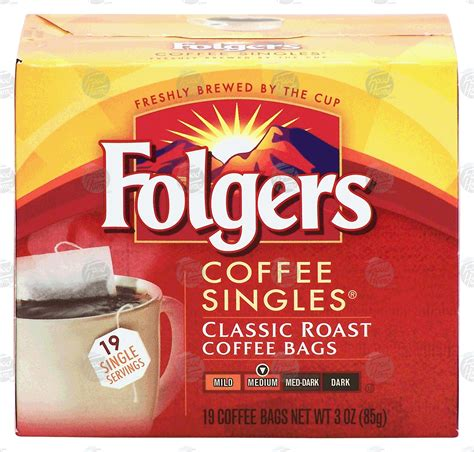 Folgers coffee singles are sold in packages. Groceries-Express.com Product Infomation for Folgers Singles classic roast coffee bags, 19-bags ...