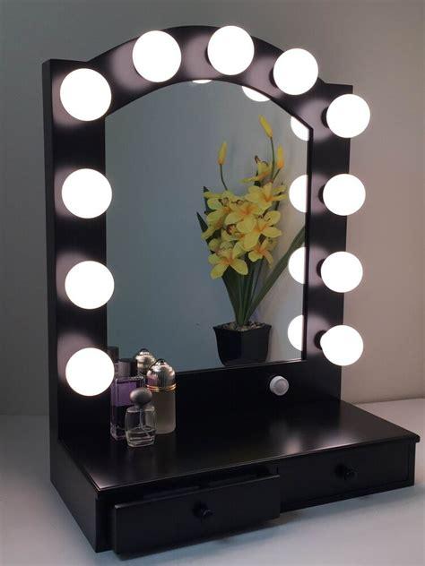 Lighted Vanity Set by Posh Lighted Makeup Vanity Mirror Black With