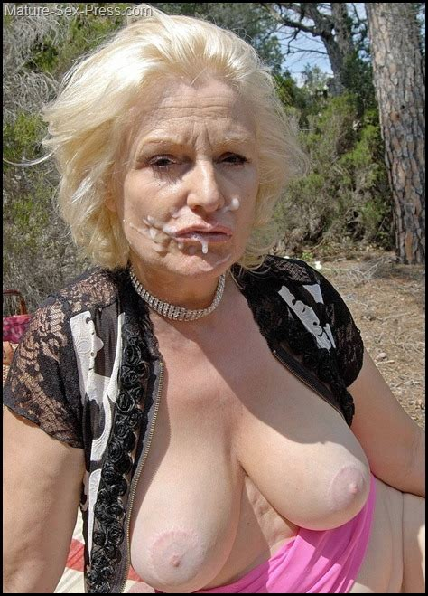 A Big Facial For A Blonde Wrinkled Face Granny In The Wild Mature Sex Press