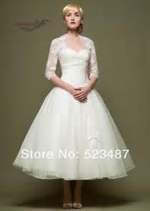 wedding dress 3 4 sleeve new vintage style custom 3 4 sleeve tea length wedding dresses with lace jacket jpg
