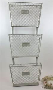 3 Tier Primitive Iron Metal Wall Mounted Basket File ...