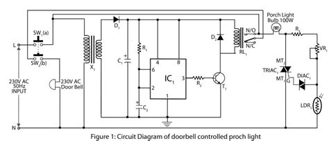 Porch Light With Photocell Wiring Diagram by Doorbell Controlled Porch Light Electronics Project