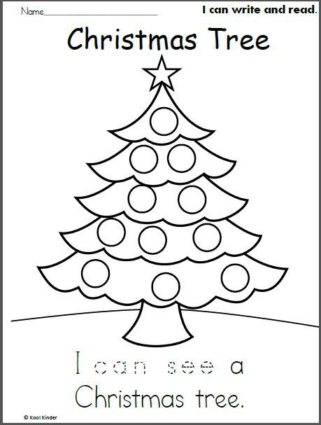 christmas tree read and trace madebyteachers