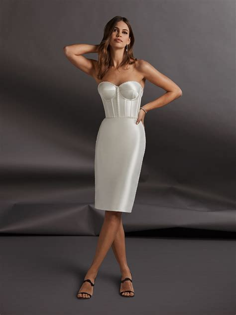 short wedding dress  corset  pencil skirt pronovias