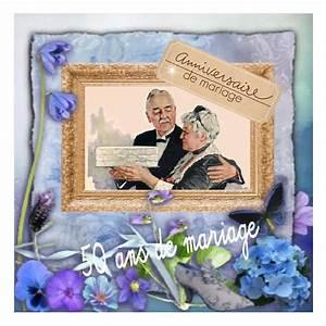 Faire Part Anniversaire 50 Ans : carte invitation anniversaire de mariage 50 ans gratuite ~ Edinachiropracticcenter.com Idées de Décoration