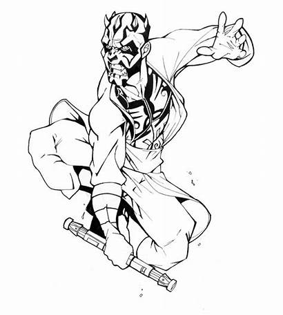 Wars Star Darth Maul Coloring Pages Revised