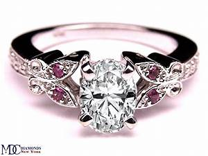 engagement ring oval diamond butterfly pink eyes With butterfly wedding rings