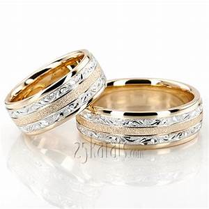 hh fc100364 14k gold exclusive floral design wedding band set With design wedding ring set