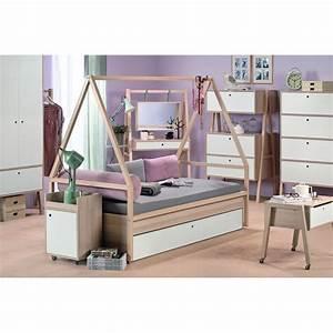 Lit Cabane Avec Tiroir : lit cabane enfant spot de la marque vox en bois clair ~ Teatrodelosmanantiales.com Idées de Décoration