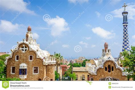 Gingerbread House Of Gaudi In Park Guell Barcelona Stock