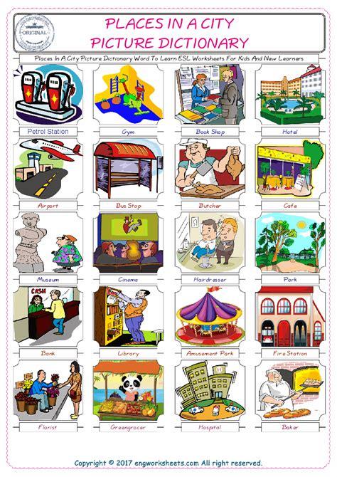 places   city esl printable english vocabulary worksheets
