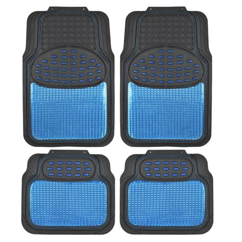 car floor mats car rubber floor mats blue metallic design on black heavy duty rubber ebay