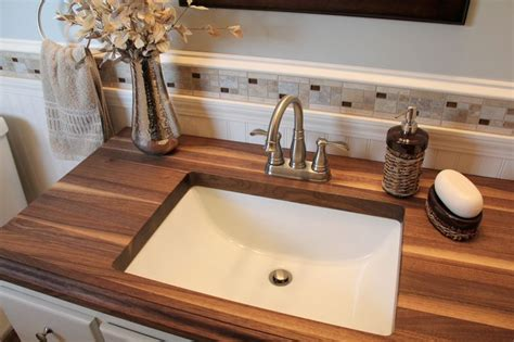 undermount bathroom sink with tile 20 bathrooms with wooden countertops