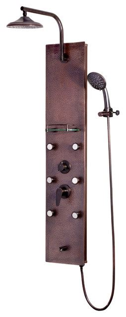 sedona showerspa hammered copper shower panel  oil rubbed bronze traditional shower