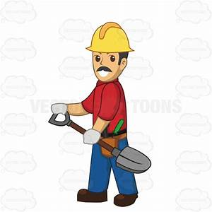Male Construction Worker Carrying A Shovel Cartoon Clipart ...