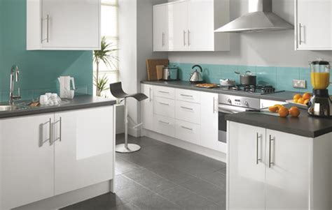 Kitchen Cupboards Uk by White And Teal Kitchens Fairmount White Gloss Kitchen