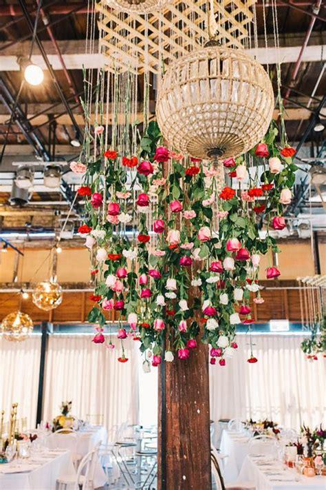hanging floral installations   spring wedding