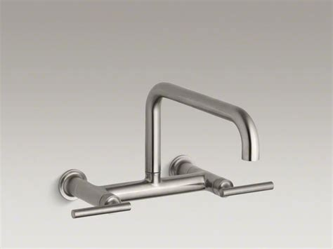 Kohler Wall Mount Kitchen Faucet by Kohler Vibrant Stainless Purist 174 Two Wall Mount