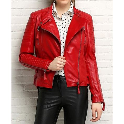 red leather motorcycle jacket asymmetrical padded sleeves womens red leather motorcycle