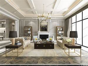 3d, Model, Modern, Classic, Contemporary, Living, Room, With