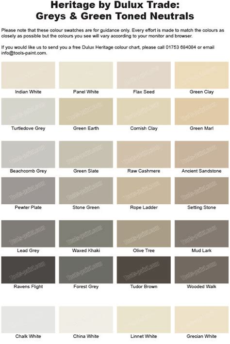 grey and green shades from the dulux heritage colour chart