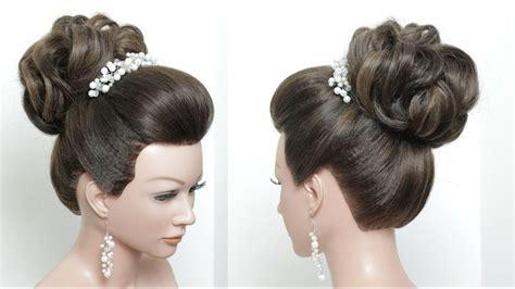 beautiful wedding bun hairstyle  puff  long hair