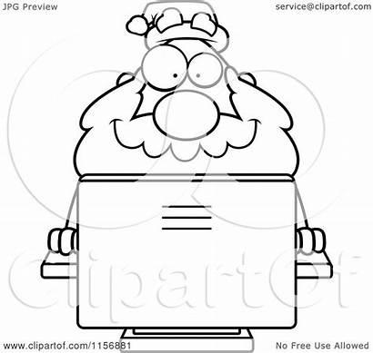 Computer Desktop Santa Cartoon Coloring Clipart Plump