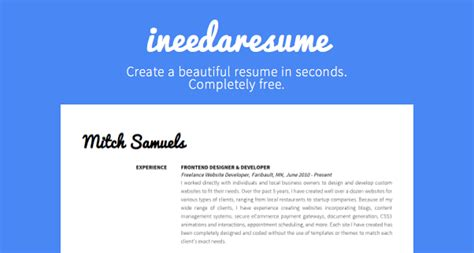 Completely Free Resume Creator by Ineedaresume Is A Completely Free Tool To Create A