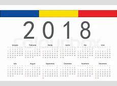 Simple rectangular Romanian 2018 year vector calendar