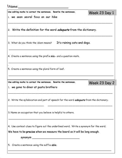 writing worksheets 3rd grade free worksheet printables