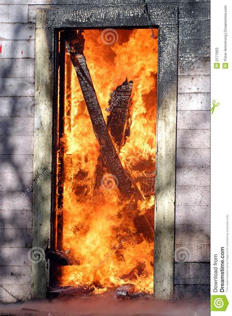 door  flames stock  image