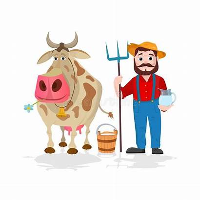 Cow Farmer Village Milk Dairy Near Cartoon