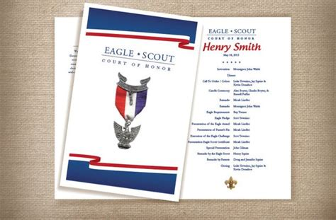 eagle scout court of honor program template white blue eagle scout court of honor coordinating