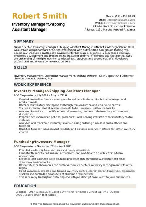 An inventory report is a brief description or summary of items belonging to a business, industry 6. Inventory Manager Resume Samples | QwikResume