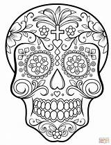 Coloring Skull Sugar Pages Printable Dead Dot sketch template