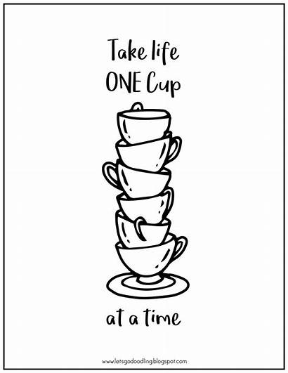 Cups Printable Tea Stacking Coloring Drawing Draw