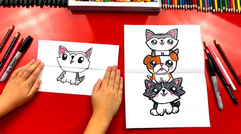 draw  puppy stack folding surprise art