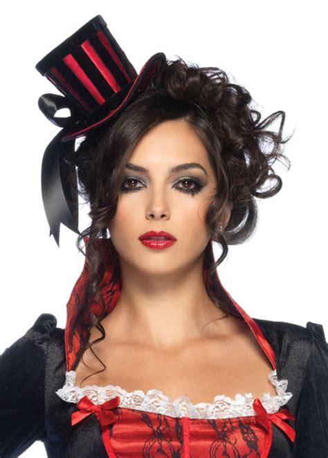 Womens Gothic Vampire Red Mini Top Hat Womens Gothic