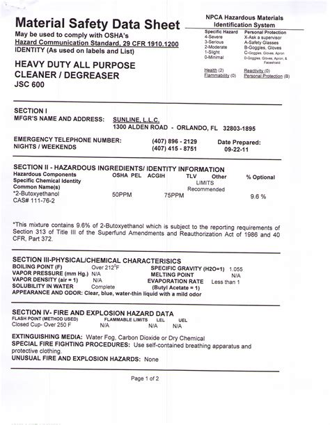 All-Purpose Cleaner MSDS Sheet
