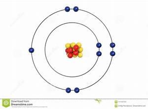 Fluorine Atom Bohr Model With Proton  Neutron And Electron