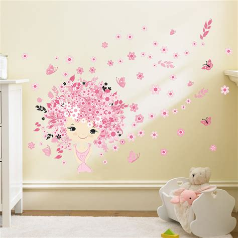 stickers muraux chambre fille flower flower pink baby mermaid butterfly