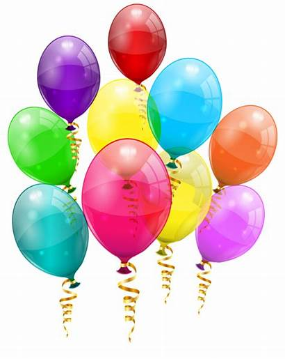 Balloons Clipart Bunch Colorful Birthday Happy Transparent
