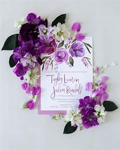 vibrant purple floral watercolor wedding invitations With beautiful wedding invitation watercolor flowers