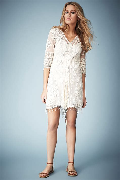 lyst topshop crochet lace midi dress  kate moss  natural