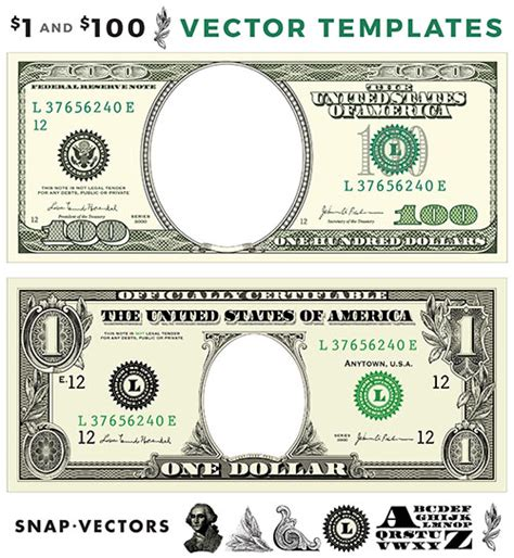 dollar template vector 100 and 1 dollar template set snap vectors