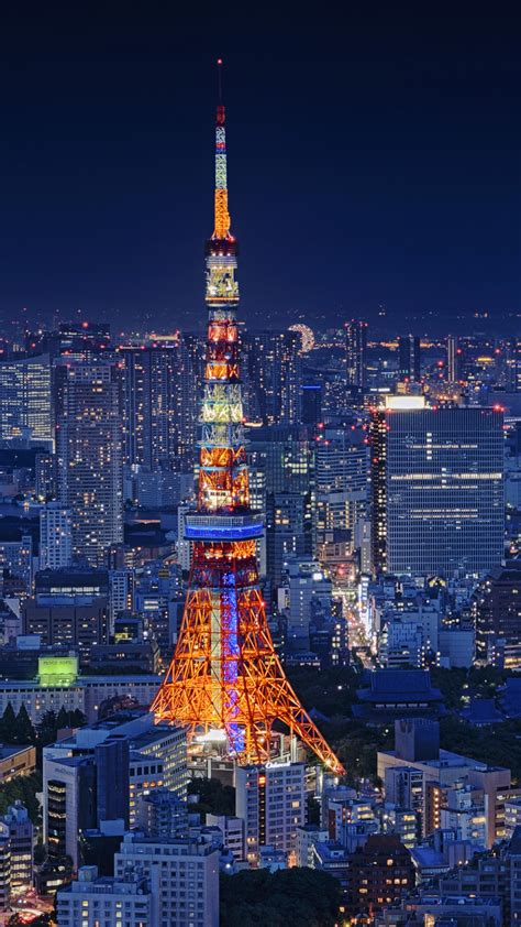 wallpaper tokyo tower cityscape night japan  world