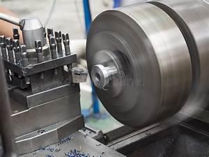 Turning Part By Manual Lathe Machine Stock Image