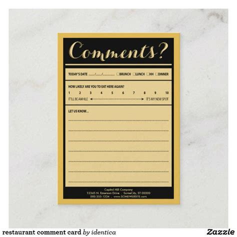 restaurant comment card templates psd ms word