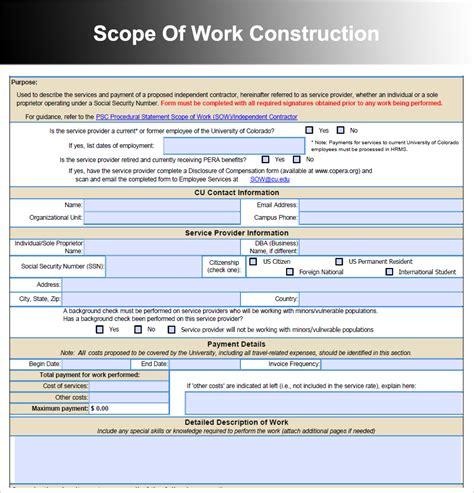 Scope Of Work Template Scope Of Work Template Construction Www Pixshark